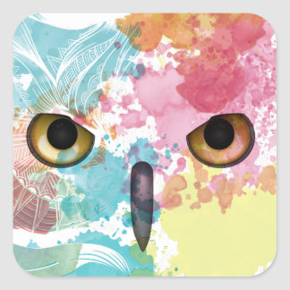 Wellcoda Fantasy Animal Owl Beautiful Eye Square Sticker