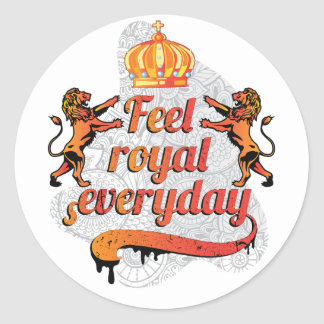 Wellcoda Feel Royal Everyday Crown Lion Classic Round Sticker
