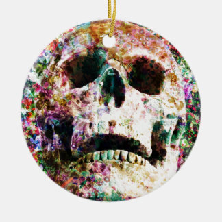 Wellcoda Flower Bed Skull Life Grave Yard Ceramic Ornament