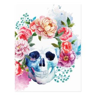 Wellcoda Flower Dead Bed Skull Grave Yard Postcard