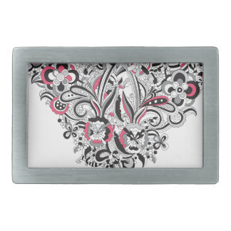 Wellcoda Flower Power Heart Petal Rose Fun Rectangular Belt Buckle