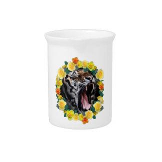 Wellcoda Flower Tiger Wild Cat Nature Law Beverage Pitcher