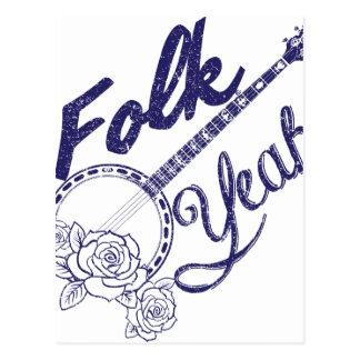 Wellcoda Folk Yeah Music Funny Banjo Rose Postcard