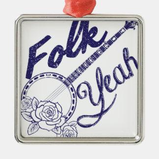 Wellcoda Folk Yeah Music Life Banjo Beat Metal Ornament