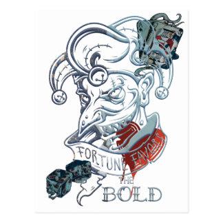 Wellcoda Fortune Favors Bold Evil Joker Postcard