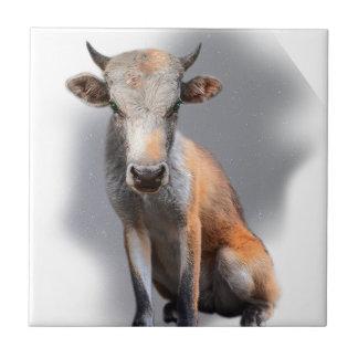 Wellcoda Fox Cow Freak Mutant Fake Animal Ceramic Tile