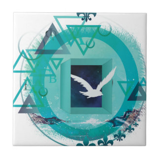 Wellcoda Freedom Galaxy Bird Fly Universe Ceramic Tile