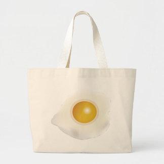 Wellcoda Fried Egg Morning Food Scrambled Large Tote Bag
