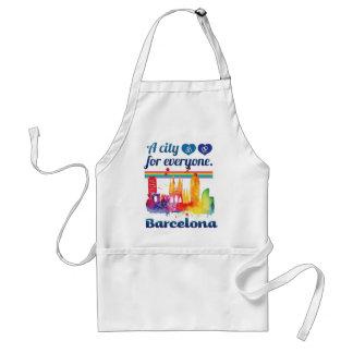 Wellcoda Friendly Barcelona Spain City Adult Apron