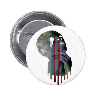 Wellcoda Full Moon Head Skull Melting Pinback Button