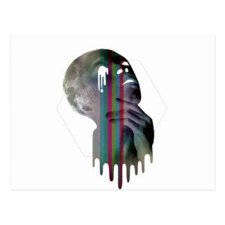 Wellcoda Full Moon Head Skull Melting Postcard