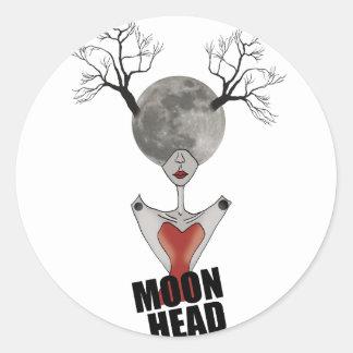Wellcoda Full Moon Head Women Galaxy Face Classic Round Sticker