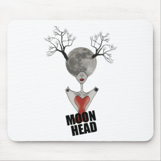 Wellcoda Full Moon Head Women Galaxy Face Mouse Pad
