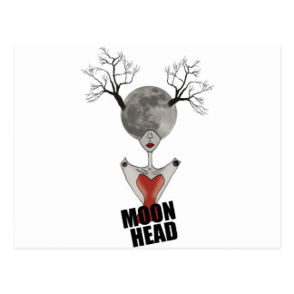 Wellcoda Full Moon Head Women Galaxy Face Postcard