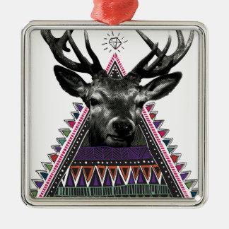 Wellcoda Fun Stag Diamond Deer Crazy Life Metal Ornament