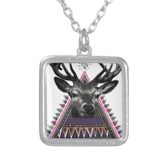 Wellcoda Fun Stag Diamond Deer Crazy Life Silver Plated Necklace