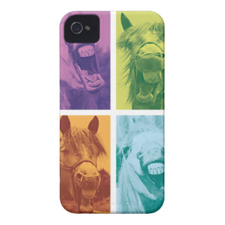 Wellcoda Funny Animal Laugh Crazy Horse iPhone 4 Case-Mate Case
