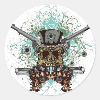 Wellcoda Gangster Skull Head Gun Bullet Classic Round Sticker