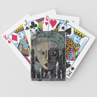 Wellcoda Girl Face Skeleton Half Head Bicycle Playing Cards