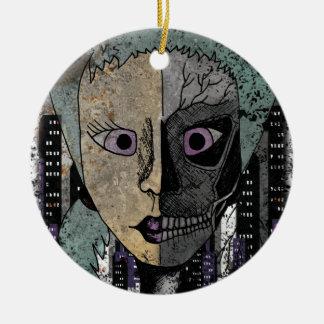 Wellcoda Girl Face Skeleton Half Head Ceramic Ornament