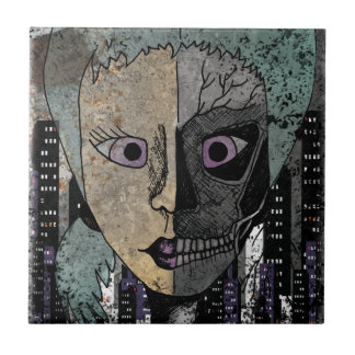 Wellcoda Girl Face Skeleton Half Head Ceramic Tile