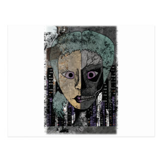 Wellcoda Girl Face Skeleton Half Head Postcard