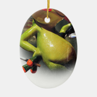 Wellcoda Glamour Frog Smoke Funny Animal Ceramic Ornament