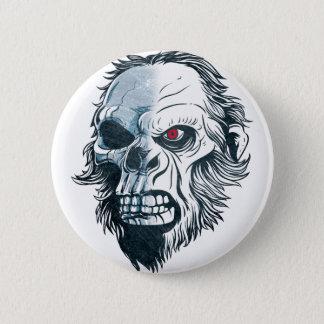 Wellcoda Gorilla Skull Head Monkey Face Pinback Button