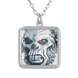 Wellcoda Gorilla Skull Head Monkey Face Square Pendant Necklace