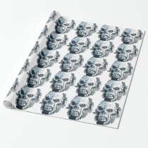 Wellcoda Gorilla Skull Head Monkey Face Wrapping Paper