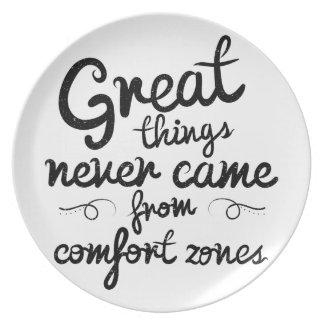 Wellcoda Great Things Never Comfort Zone Melamine Plate