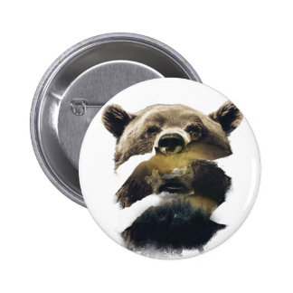 Wellcoda Grizzly Bear Camping Wild Animal Pinback Button