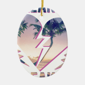 Wellcoda Heart Breaker Lover Palm Tree Ceramic Ornament