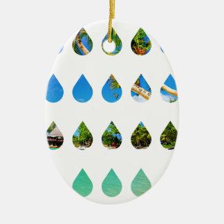 Wellcoda Holiday Rain Drops Vacation Tears Ceramic Ornament