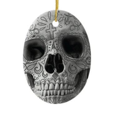 Aztec Themed Wellcoda Human Candy Skull Death Head Ceramic Ornament