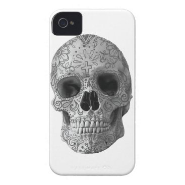 Aztec Themed Wellcoda Human Candy Skull Death Head iPhone 4 Cover