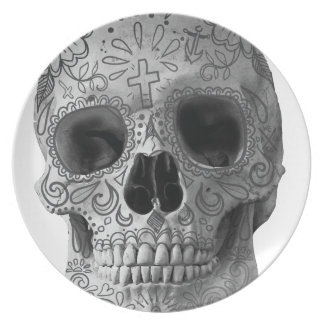 Wellcoda Human Candy Skull Death Head Melamine Plate