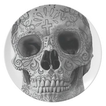 Aztec Themed Wellcoda Human Candy Skull Death Head Melamine Plate