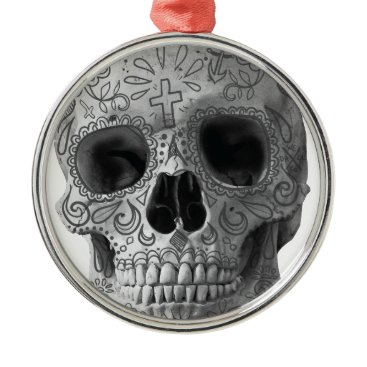 Aztec Themed Wellcoda Human Candy Skull Death Head Metal Ornament