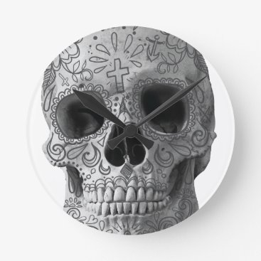 Aztec Themed Wellcoda Human Candy Skull Death Head Round Clock