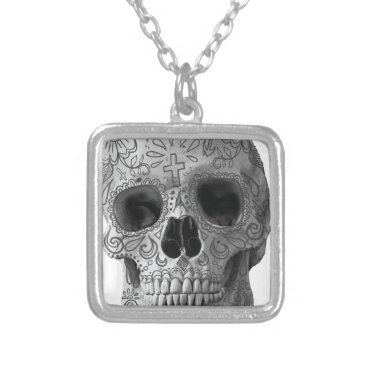 Aztec Themed Wellcoda Human Candy Skull Death Head Silver Plated Necklace