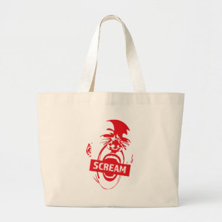 Wellcoda Human Face Scream Shout Yell Cry Large Tote Bag
