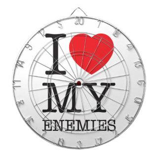 Wellcoda I Love My Enemies Fun Heart Hate Dartboard With Darts