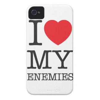 Wellcoda I Love My Enemies Fun Heart Hate iPhone 4 Cover