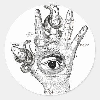 Wellcoda Illuminati Compass Snake Hand Classic Round Sticker
