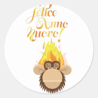 Wellcoda Italian New Year Wish Celebrate Classic Round Sticker