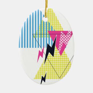 Wellcoda Lightning Bolt Triangle Flash 80's Ceramic Ornament