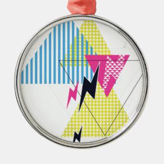Wellcoda Lightning Bolt Triangle Flash 80's Metal Ornament
