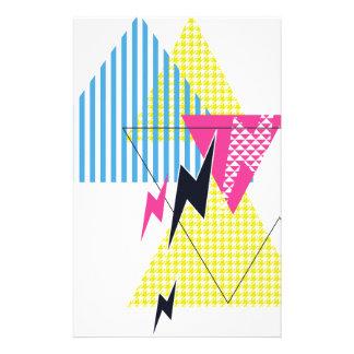 Wellcoda Lightning Bolt Triangle Flash 80's Stationery