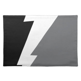 Wellcoda Lightning Shock Strike Grey Black Cloth Placemat